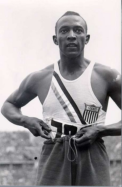 Jesse Owens    		Jesse Owens........winner of four gold medals in the 1963 Berlin Olympics: 100m sprint, 200m sprint, long jump, and 4x100 meter relay team.