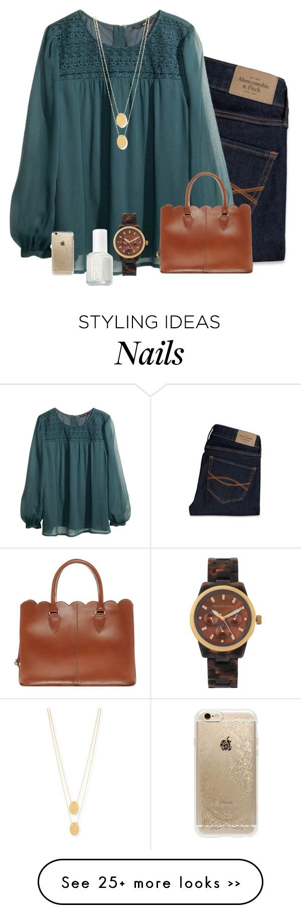 """""""thinking about the fun we had since 2k03 and now what's happening? tearing and drifting apart ✨"""" by kadynpleasnts on Polyvore featuring moda, Abercrombie & Fitch, H&M, ASOS, Michael Kors, Jennifer Zeuner, Essie ve Rifle Paper Co"""