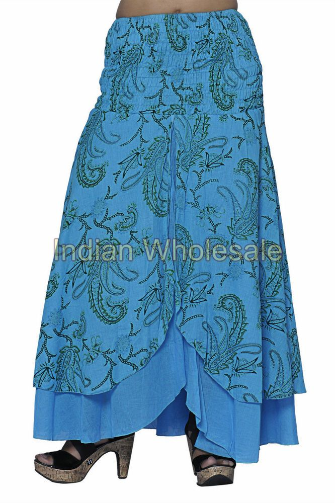 Indian Trendy Stylish Cotton Sky Blue Floral Print Skirt Traditional Skirts IWUS