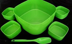 Retro Vintage Bessemer Melamine Aust Green Bowl SET X5 Spoon Salad ICE Party | eBay