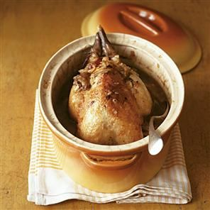 Pot-roasted guinea fowl with porcini mushrooms, bacon and parsley Recipe   delicious. Magazine free recipes
