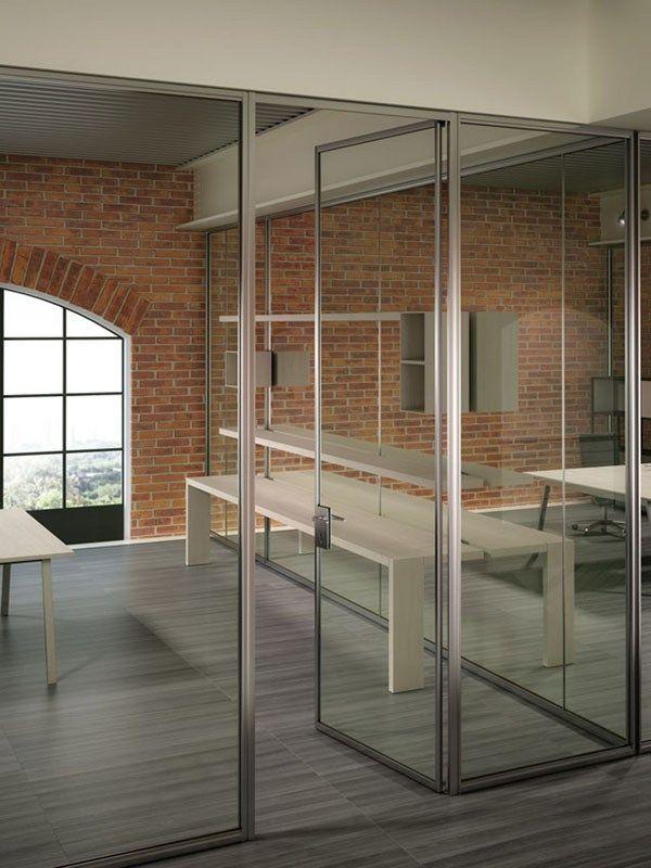 Mampara de oficina / Pared divisoria de vidrio SLIMBOX
