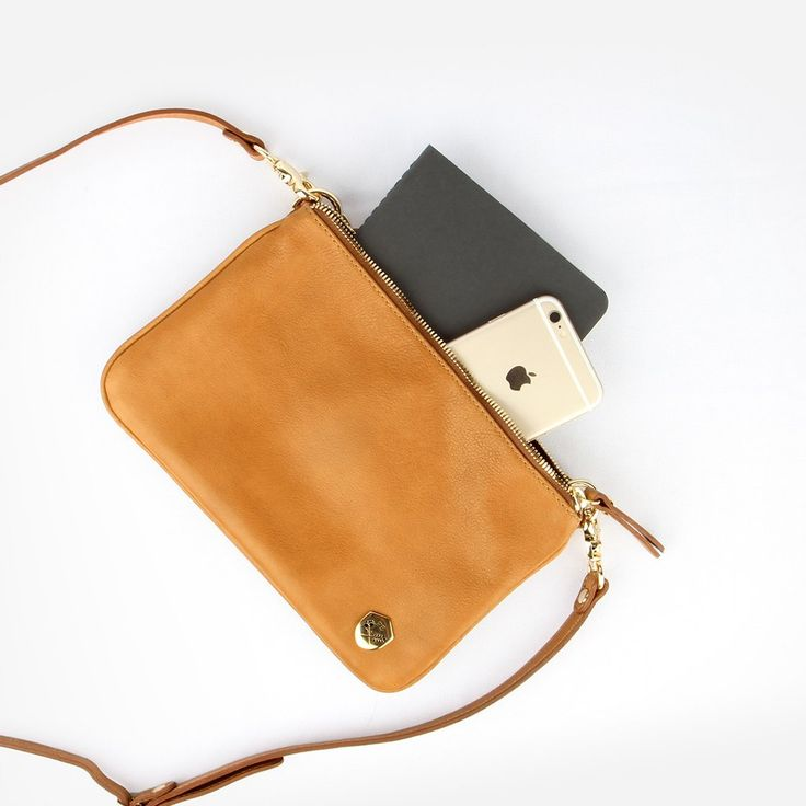 The Essentials Purse - caramel leather small cross-body bag - Poppy Barley
