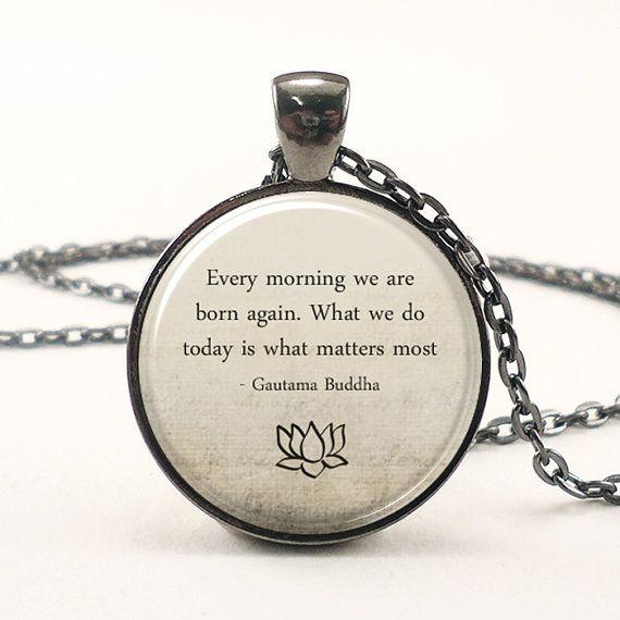 Buddha Quote Necklace Motivational Wisdom Pendant by rainnua, $14.45