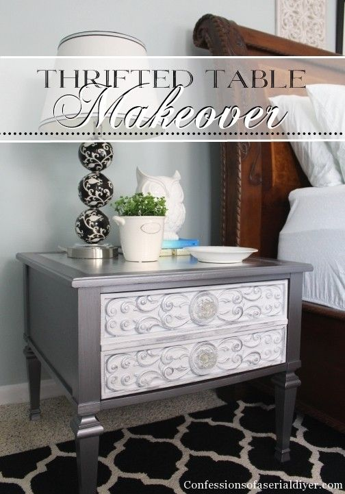 Thrifted side table gets a glam makeover using Martha Stewart Silver  Leaf and Gilding Adhesive!