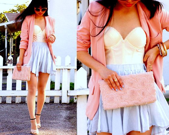 : Colors Combos, Skirts, Cute Outfits, Bustiers, Style Guide, Pastel Colors, Spring Outfits, Corsets Tops, Pink Blazers