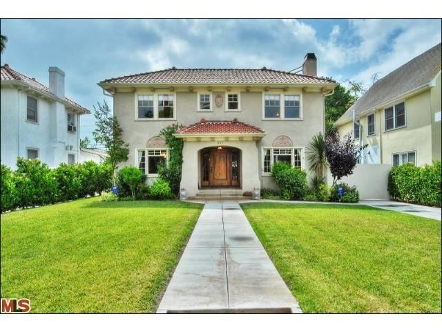 Stucco house with red tile roof -- Mediterranean/Spanish style with Arts & Crafts influence? -- built 1923 -- Los Angeles, MLS #13-675383