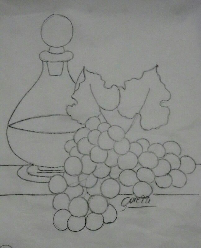 Garrafa e uvas risco