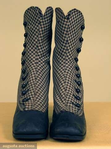 Augusta Auctions, May 2008 Vintage Fashion & Antique Textile Sale, Lot 520: Lady's Gingham Hi-button Boots, 1860-1870