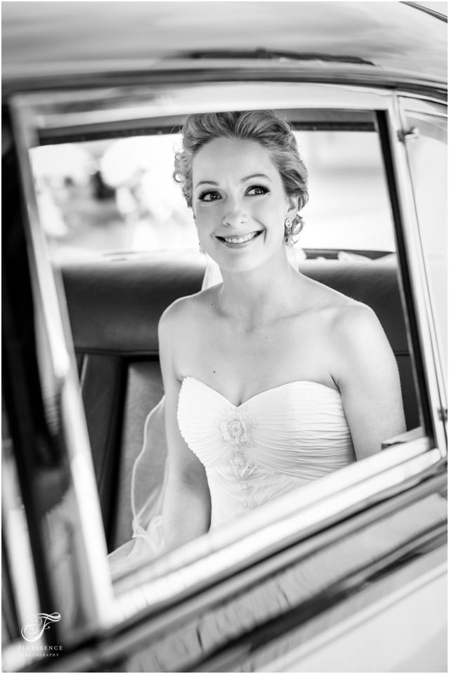 Stunning bride in classic car // Wedding photography work by Finessence // www.finessence.com.au