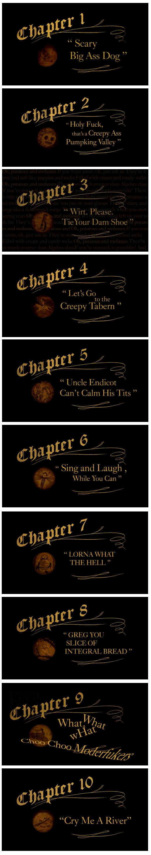 Over The Garden Wall Le Card As How Episodes Would Have Been Named Based On