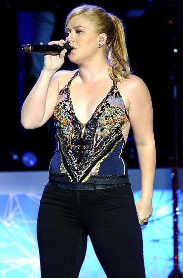 Kelly Clarkson during a 2012 performance in Sacramento CaliforniaKelly Clarkson See Through