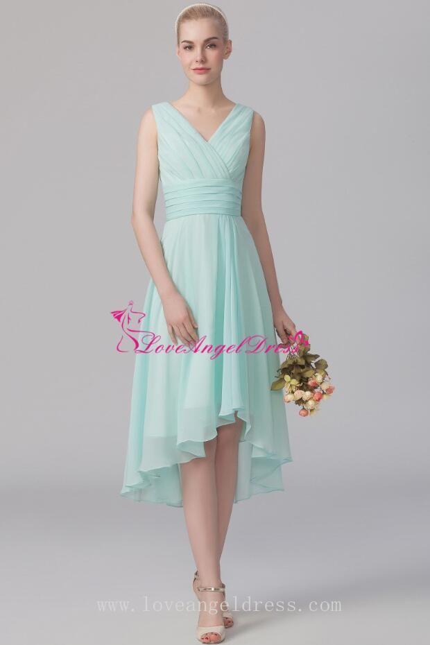 Ruched V-neck A-line Mint Green Bridesmaid Wedding Guest Dress Damas De  Honra af8ad6689829