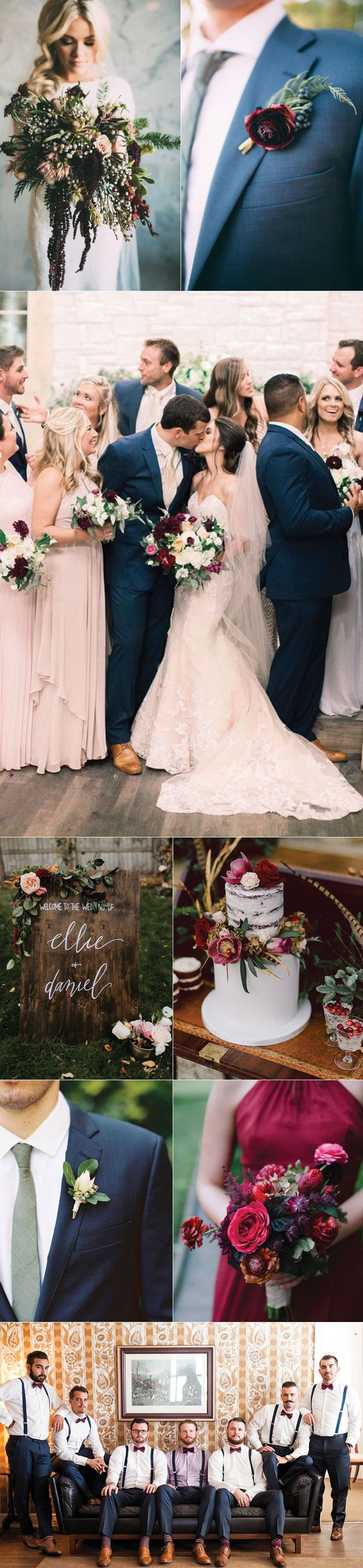 Autumn Wedding Exquisite Shades of Plum, Blush and Sage. Love the blush dresses navy tuxes and burgundy flowers