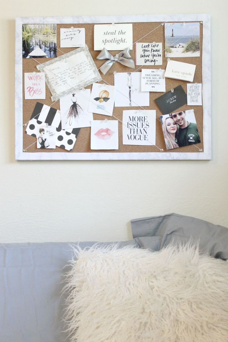DIY Inspiration board | DIY bulletin board | DIY with marble contact paper | @ashncarrington