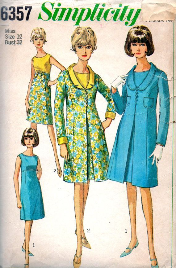 Simplicity 6357 1960s Misses Empire Waist Dress and Princess Seam Coat womens vintage sewing pattern by mbchills