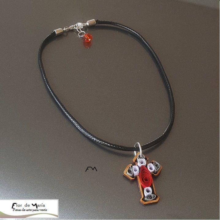 Wooden cross decorated using quilling technique on a black cord chocker   Cruz de MDF decorada con Quilling montada en chocker de cordón piel de serpiente color negro  Cod. FM016  Price/Precio:  fmcbdesigns@hotmail.com  Follow us on / Síguenos en: @fmcbdesigns  #chocker #collar #necklace #fmcbdesigns #art #arte #quilling #bisuteria  #jewelry  #caracas #venezuela #hechoamano #handmade