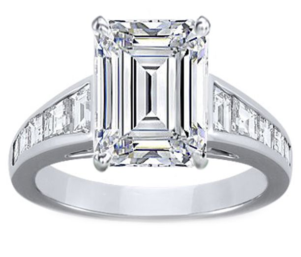 Emerald Cut Diamond Engagement Ring with Square Carre and Trapezoid Cut Diamonds in White Gold