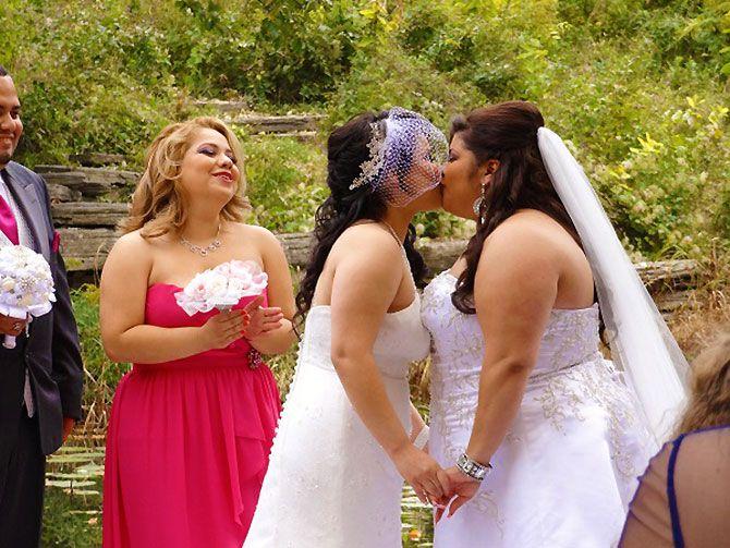 a perfect fit rev brides kiss lesbian weddings