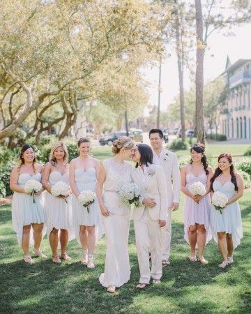 """Give your wedding party any label you like; it's your day, after all, and you can be as traditional or nontraditional as you want. They could be your """"bridesmen""""or """"men-of-honor."""" Likewise, grooms may appoint """"groomswomen""""or """"best women.""""Or, choose a completely genderless term, such as """"attendants"""" or """"party people."""""""