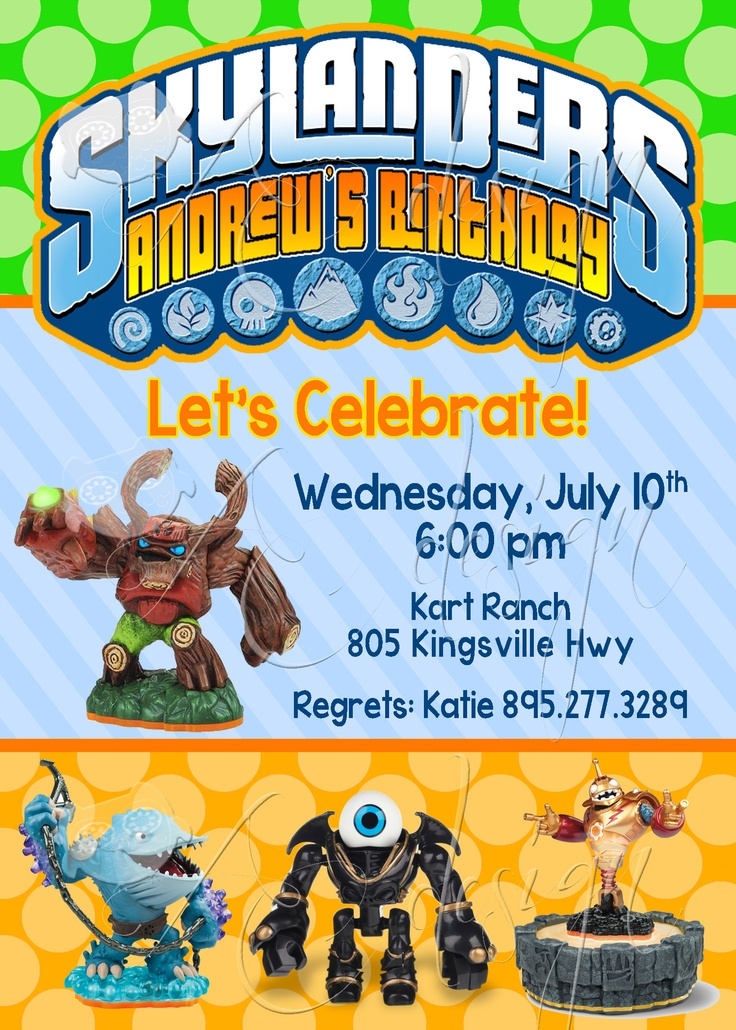 Skylander Green And Orange Invitation Party Ideas
