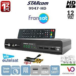 Récepteur TNT HD labellisé FRANSAT STARcom 9947-HD. Ce récepteur TNT satellite permet de recevoir toutes les chaînes TV du bouquet FRANSAT