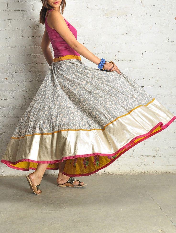 Grey Block Print Kalidar Cotton Skirt - Free Size