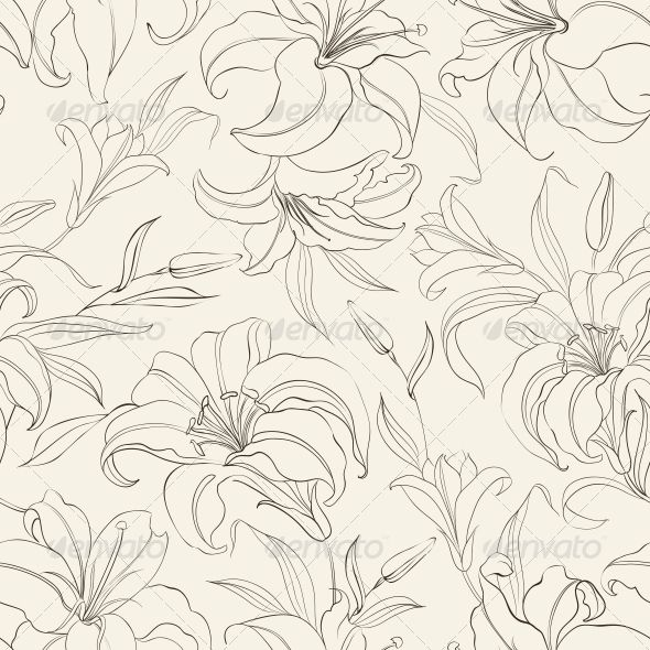 Seamless Pattern with Blooming Lilies - Patterns Decorative