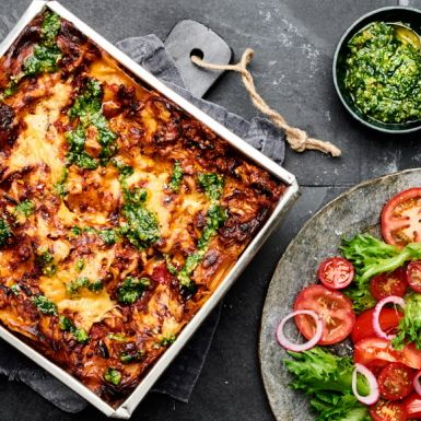 Lasagne med gröna linser