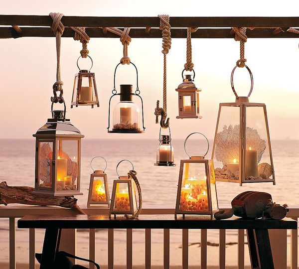 Ladder lantern lighting instead of a chandelier how for Beach cottage lighting fixtures