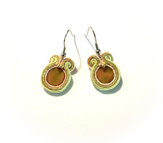 Pastel gold mini soutache earrings stainless steel by KicsiYu