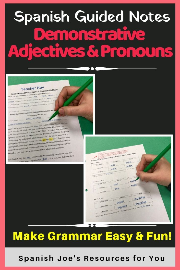 Spanish Demonstrative Adjectives \u0026 Pronouns - Guided Notes and Key   Guided  notes [ 1102 x 735 Pixel ]