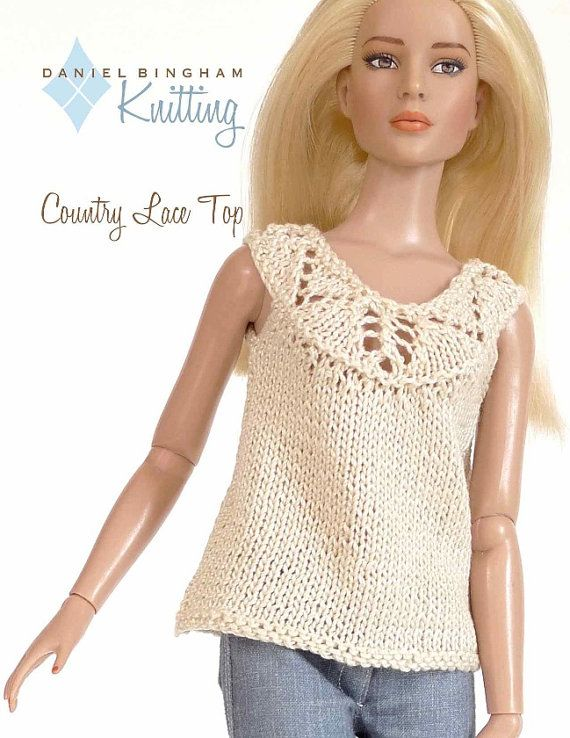 """Knitting pattern for 16"""" doll (Tyler Wentworth): Country Lace Top"""