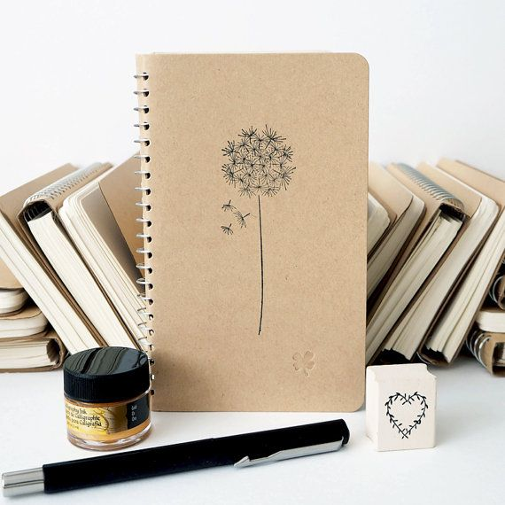 Dandelion flower hand-stamped notebook.    Contains 160 blank pages (80 sheets).    There are 4 different styles with a different embossed
