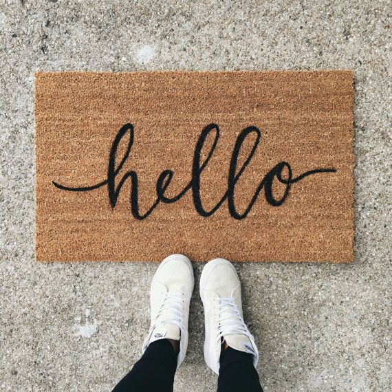 hello welcome mat hand painted custom by OlivePaperCompany