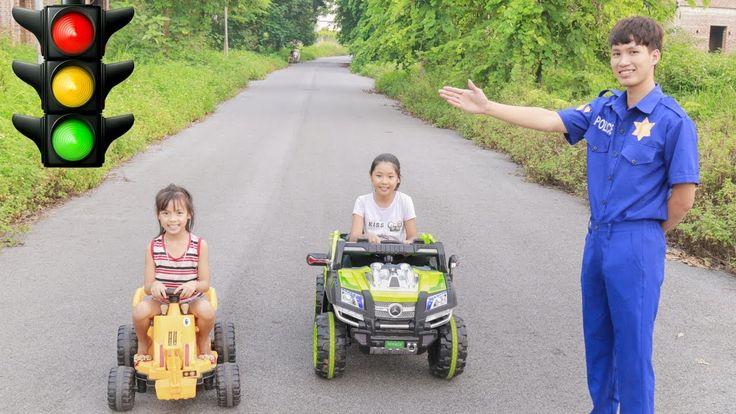 Kids pretend play traffic police kids drive truck learn