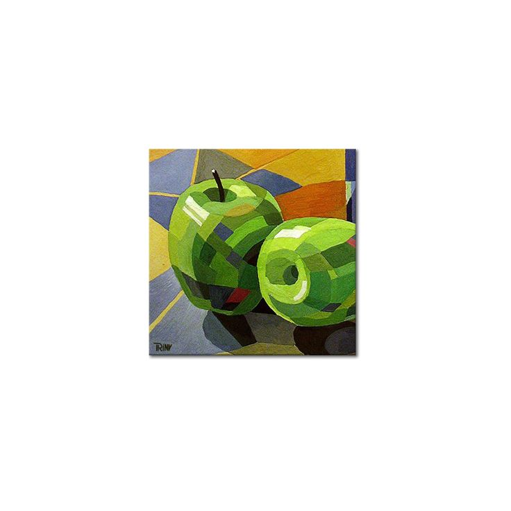 Acryl schilderij 'Green Apples' van Irina, abstract weergegeven stilleven met groene appels, 80x80 cm | Kunstvoorjou.nl #schilderij #appels #abstract #stilleven #kunstvoorjou #Irina