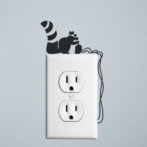 Squirrel robber wall decal sticker for wall switches and by dnnna, £5.00