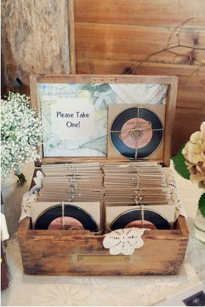 I love the idea of a mix CD as a wedding favor, especially with the labels and cardboard sleeves that make them look like an old 78.                                                                                                                                                                                 More