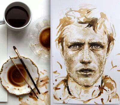 Coffee painting #coffee #coffeeart