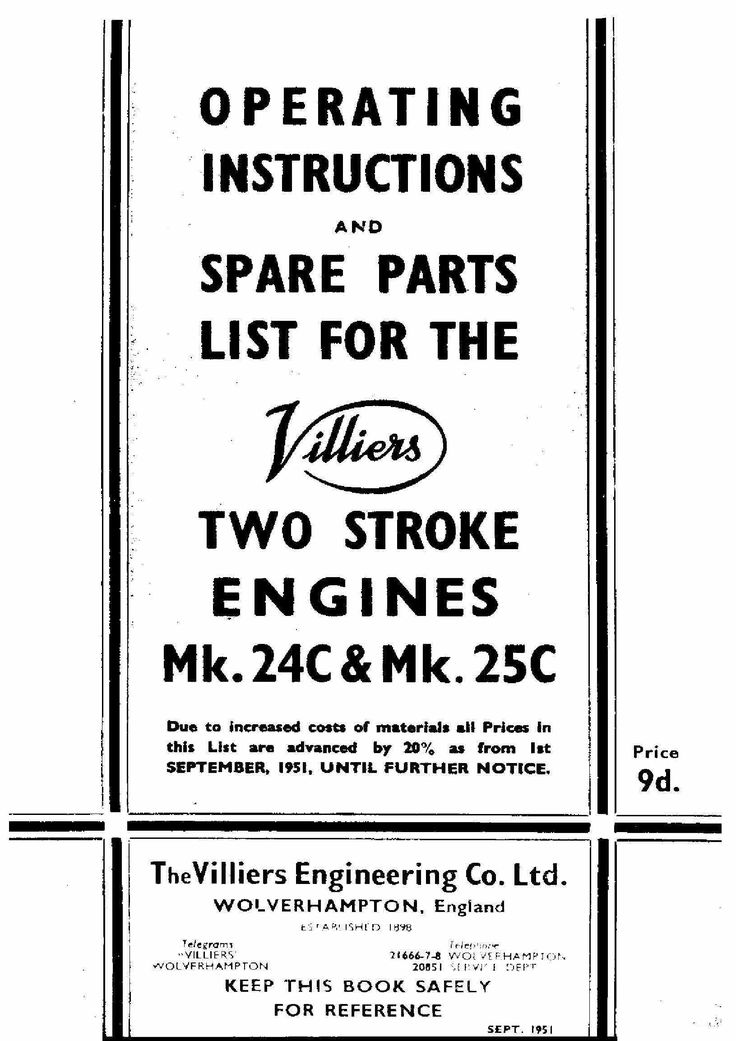 119 best vintage auto manual covers images on pinterest vintage villiers 24c 25c operation and parts manual fandeluxe Gallery