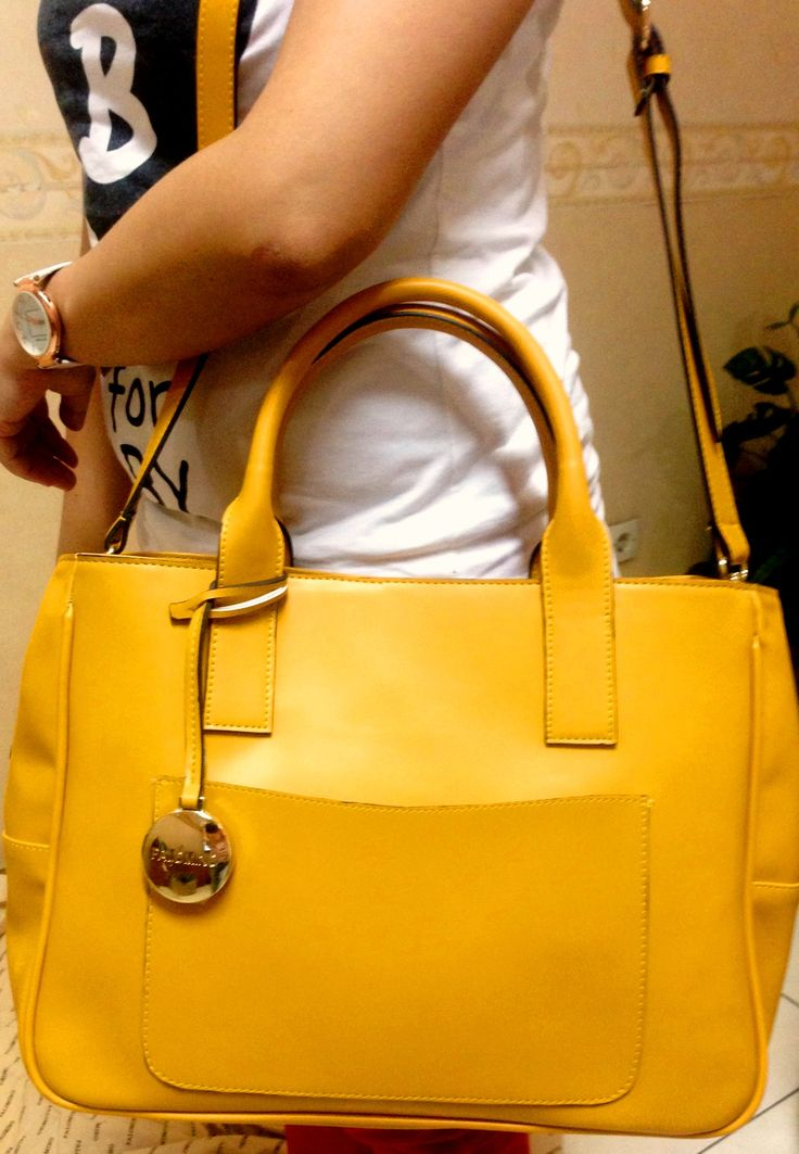 GERALDYN LEATHER TOTE BAG YELLOW