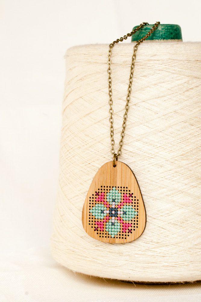 Cross Stitch Necklace - DIY Kit - Bamboo with Folk Art Pattern by RedGateStitchery