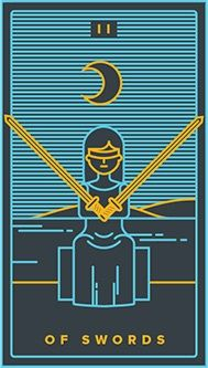 June 12 Tarot Card: Two of Swords (Golden Thread deck) Decisions can be scary, because they tend to bring change... But the longer you avoid making a choice, the longer you'll stay stuck where you are