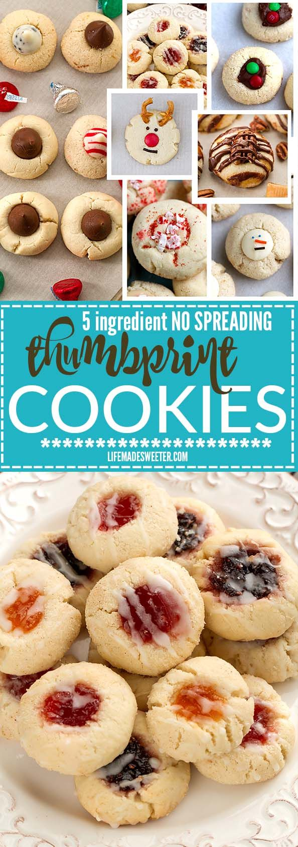 Classic Shortbread Thumbprint Cookies - an easy 5 ingredient dough to make 7 different Christmas cookies including raspberry, apricot and strawberry jam filling, Hershey's Kisses, Nutella and white chocolate with crushed peppermint candy canes! Best of all there's NO spreading or CHILLING required! Perfect for your holiday cookie platter!