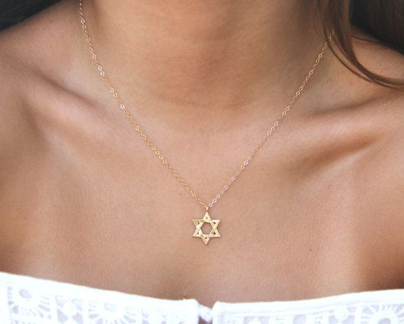 GOLD Star Of David Necklace Delicate Star Of David by ZmirArts