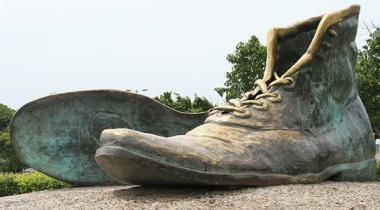 The sculpture of the old shoes.