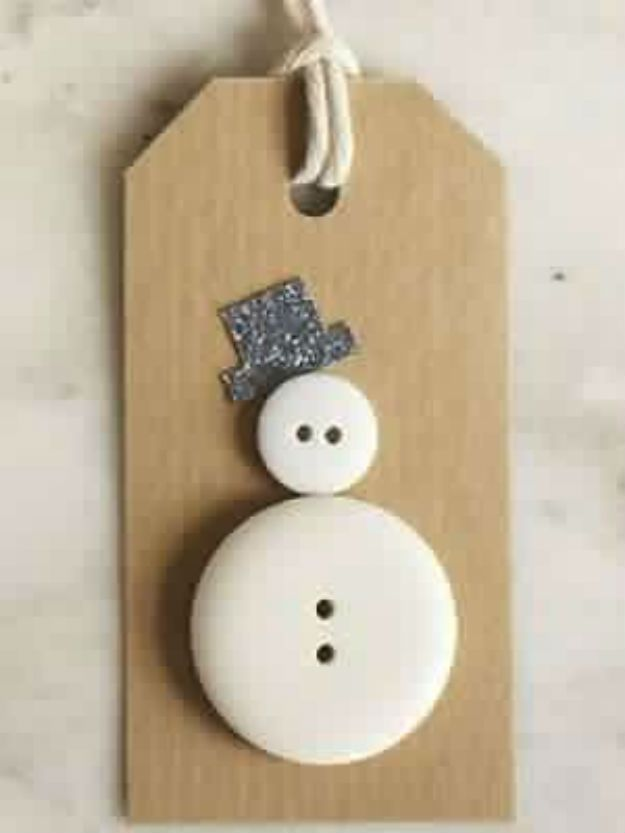 Snowman Button Gift Tags