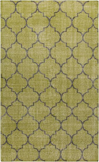 Moroccan Motif On A Hand Knotted Wool Rug In Olive Green From The Zahra Collection Room RugsArea