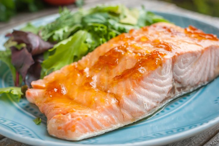 Totally delicious Salmon with Marmalade Glaze, only THREE ingredients and it's gluten free too!